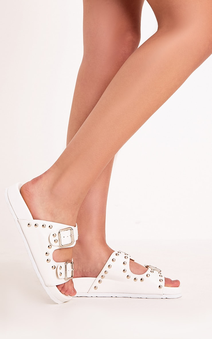 Philipa White Studded Strap  Sliders 2