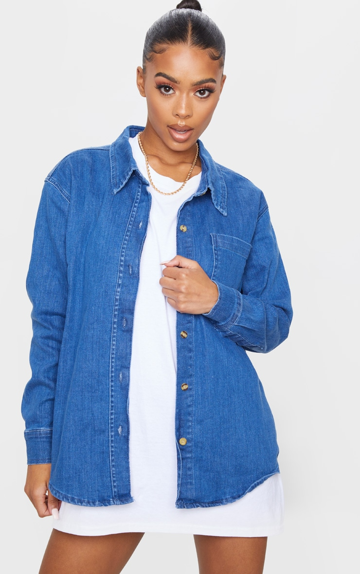 Mid Blue Wash 90S Oversized Denim Shirt