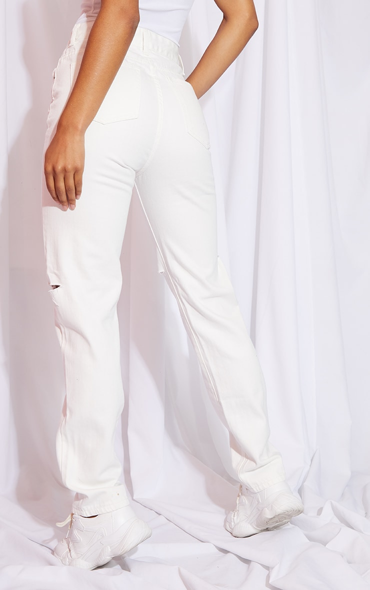 Off White Slash Knee Long Leg Straight Leg Jeans 3