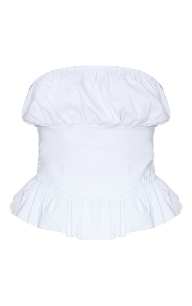 White Woven Ruched Cup Strapless Bandeau Top 5