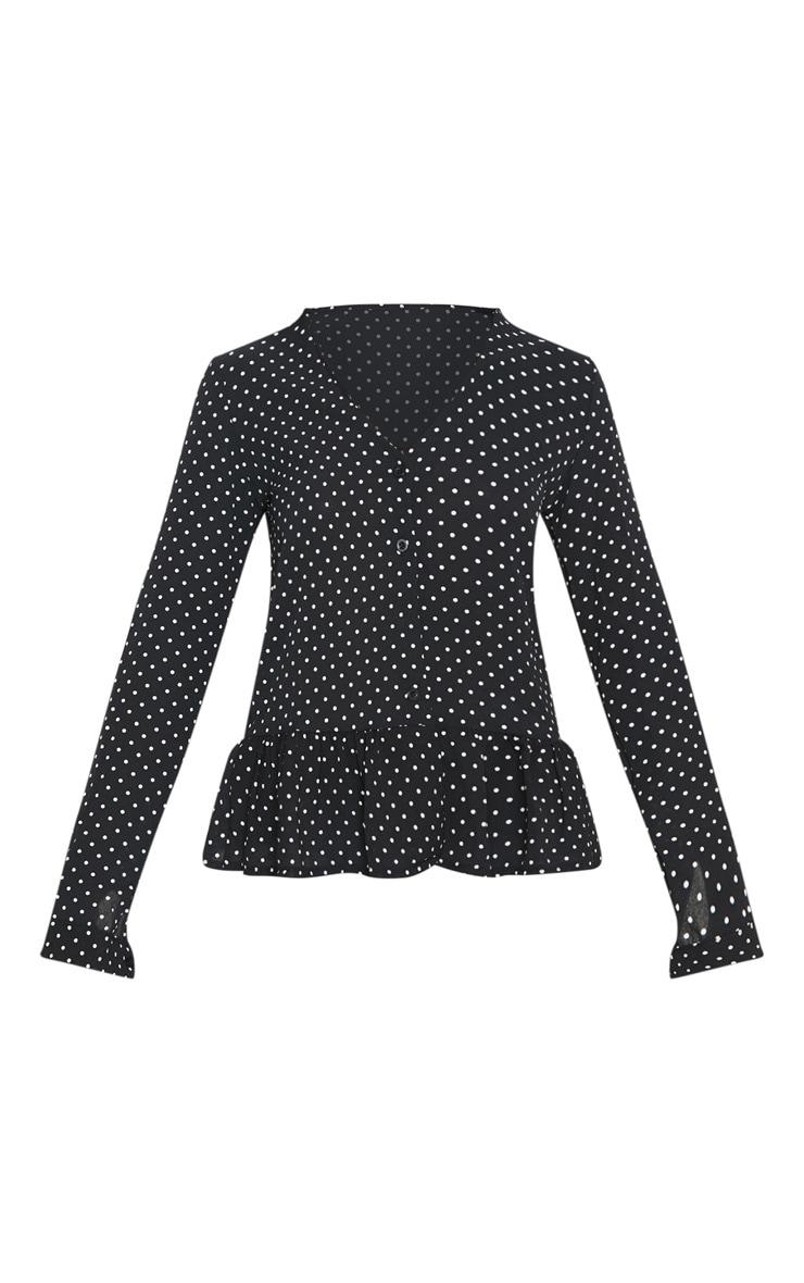 Black Polka Dot Frill Hem Shirt 3