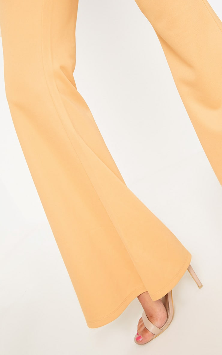 Light Gold Fitted Wide Leg Trousers  5