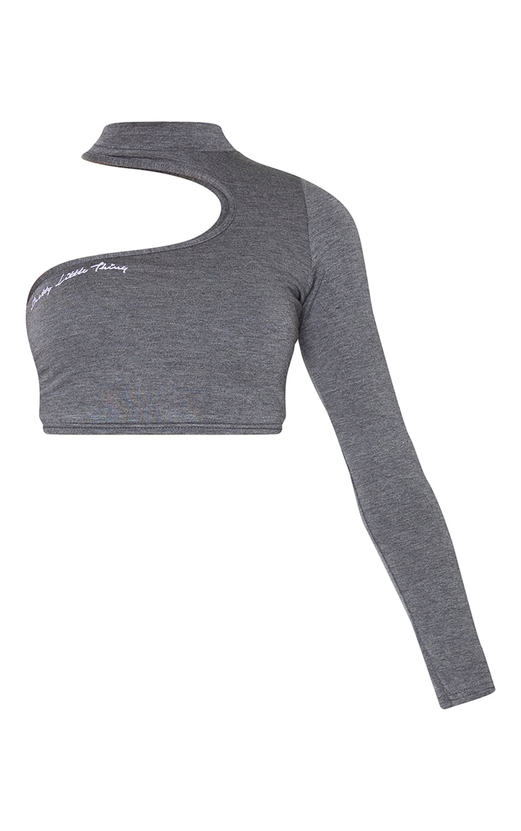 PRETTYLITTLETHING Grey Embroidered Cut Out Crop Top 5