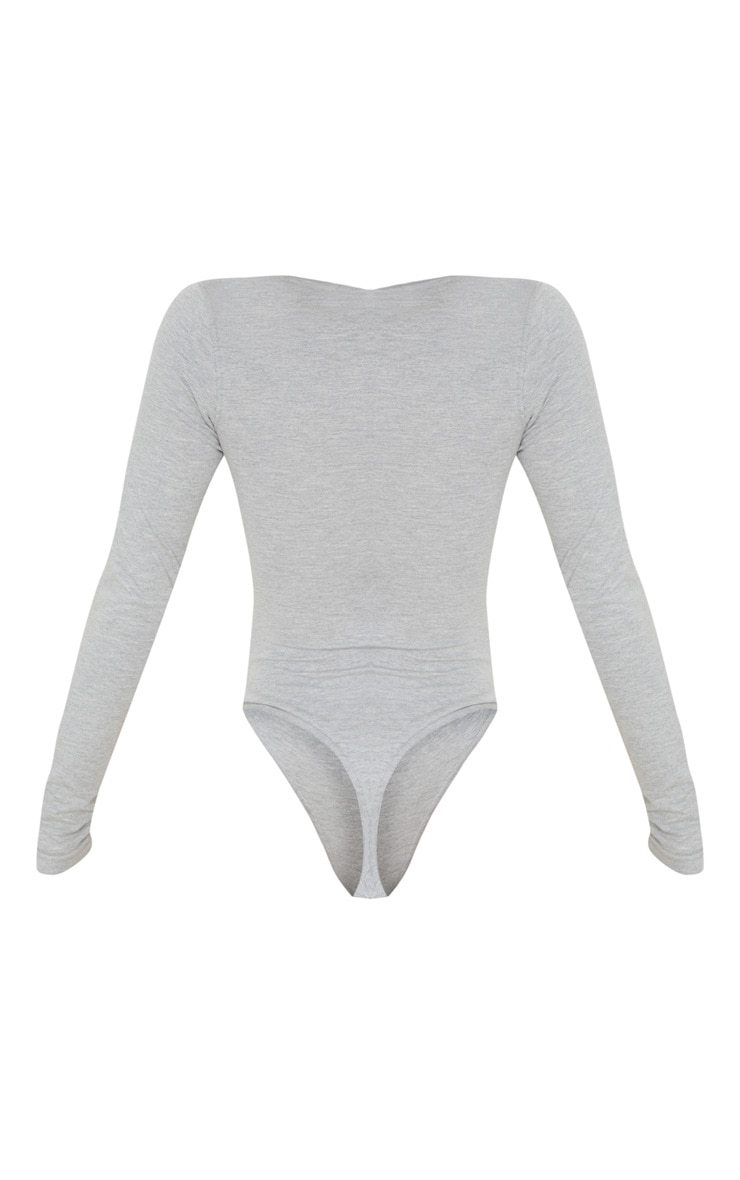 Grey Cotton Popper Scoop Neck Bodysuit 4