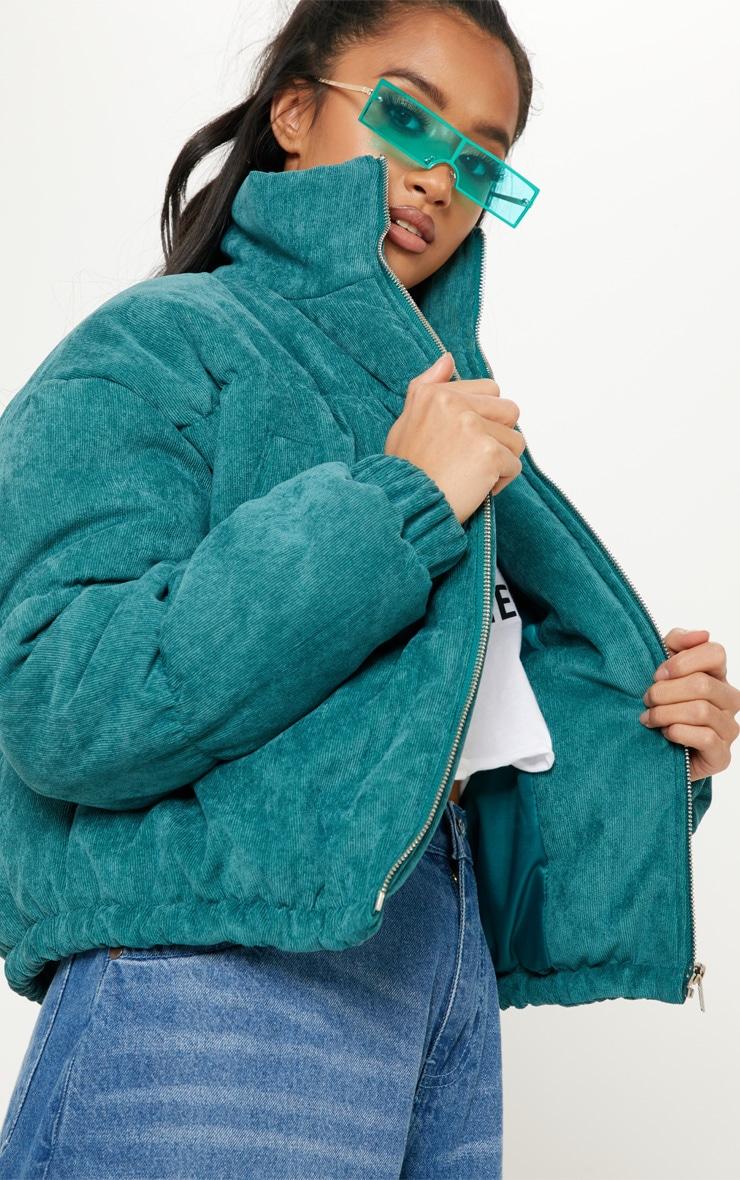 Petite Emerald Green Cord Puffer Jacket 5
