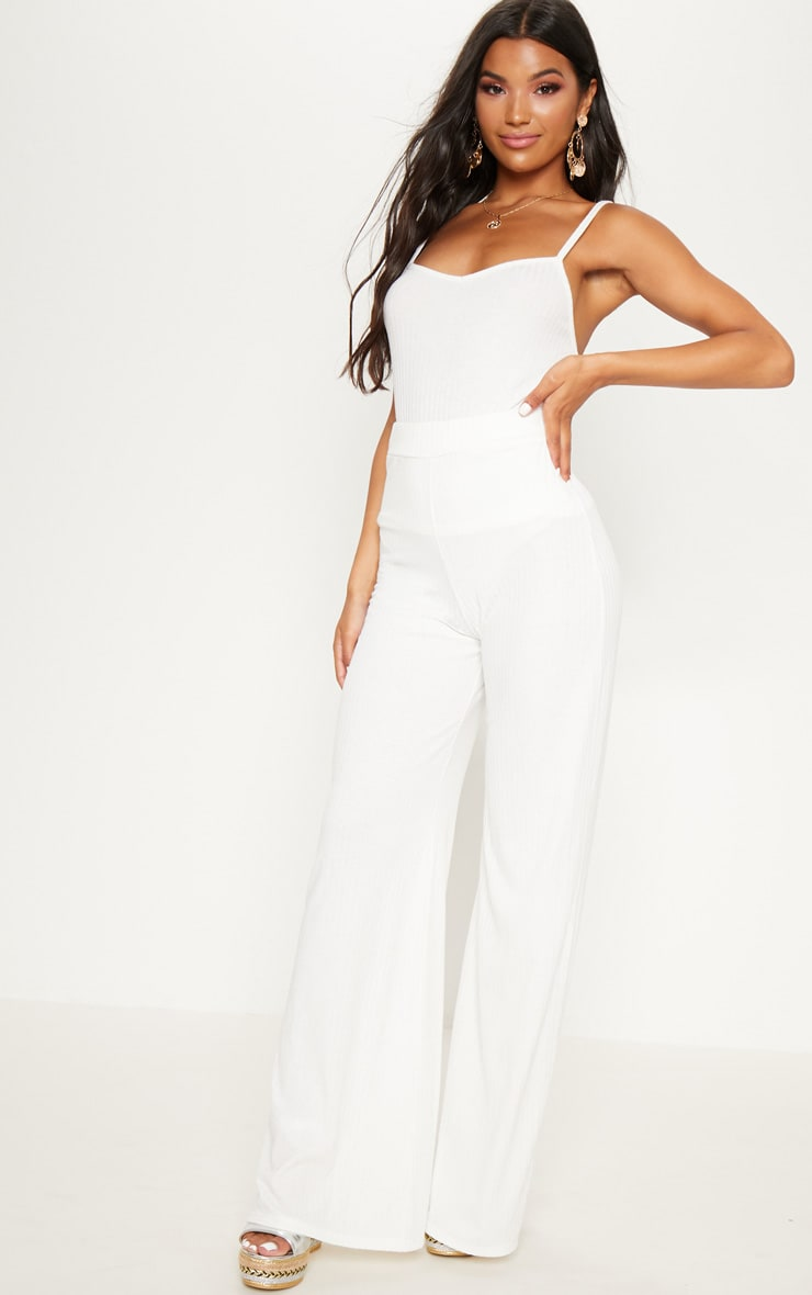 Cream Rib Knit Wide Leg Trousers 1