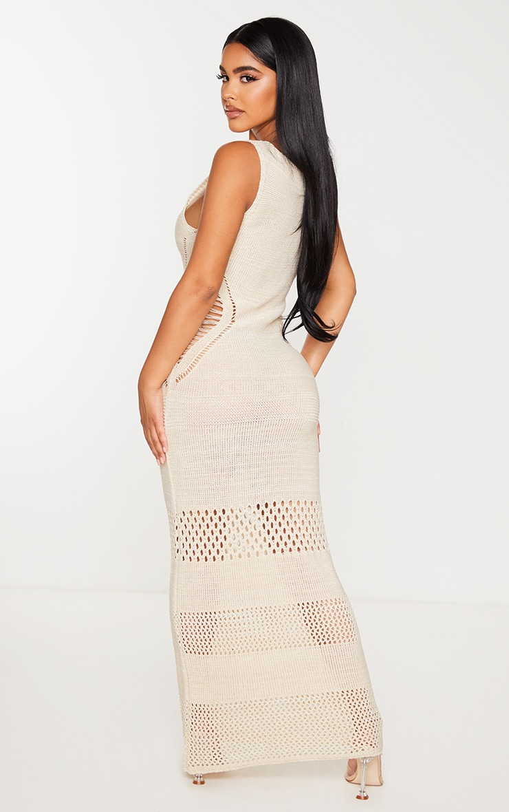 Petite Cream Crochet Plunged Maxi Dress 2