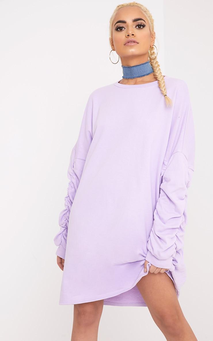 Royha Lilac Ruched Sleeve Sweater Dress 4