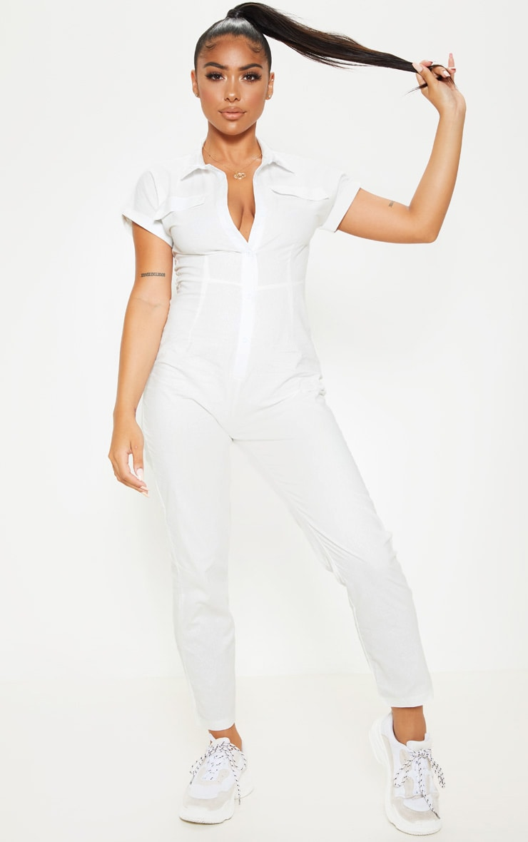 Petite White Short Sleeve Utility Jumpsuit 1
