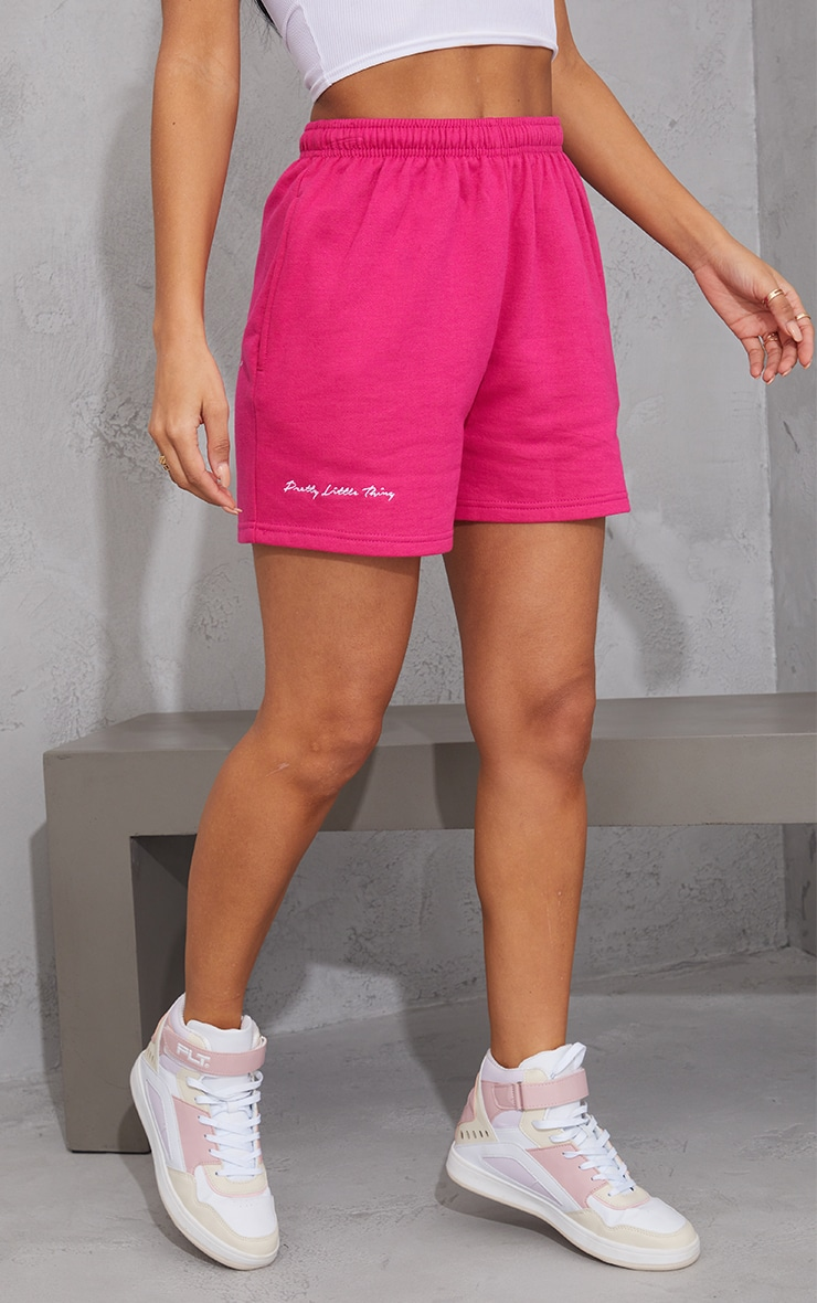 PRETTYLITTLETHING Hot Pink Embroidered Logo Sweat Shorts 2