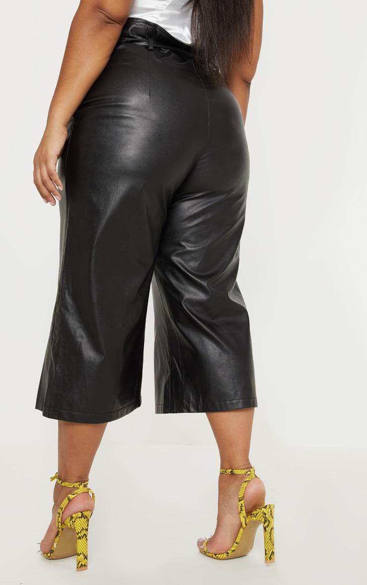 Plus Black Faux Leather Belt Detail Culotte  4