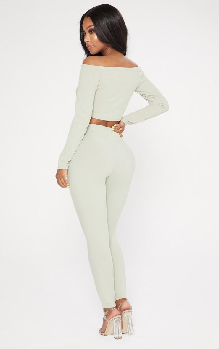 Shape Sage Green Ribbed Bardot Long Sleeve Crop Top 2