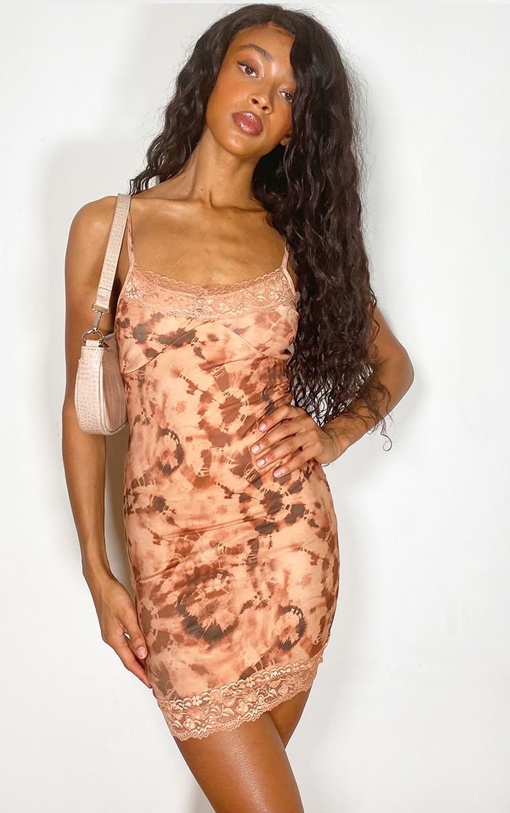 Nude Tie Dye Lace Detail Strappy Bodycon Dress 2