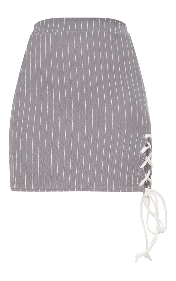 Grey Lace Up Detail Pinstripe Skirt 3