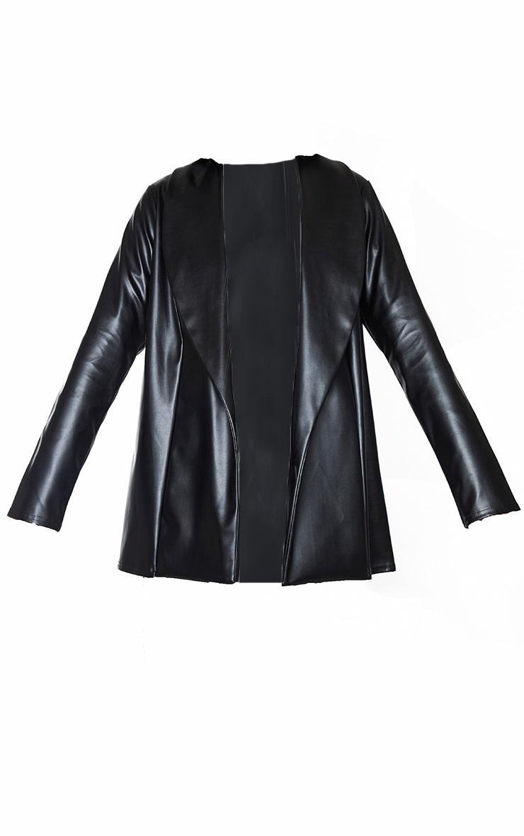 Black Drop Collar Faux Leather Blazer 5