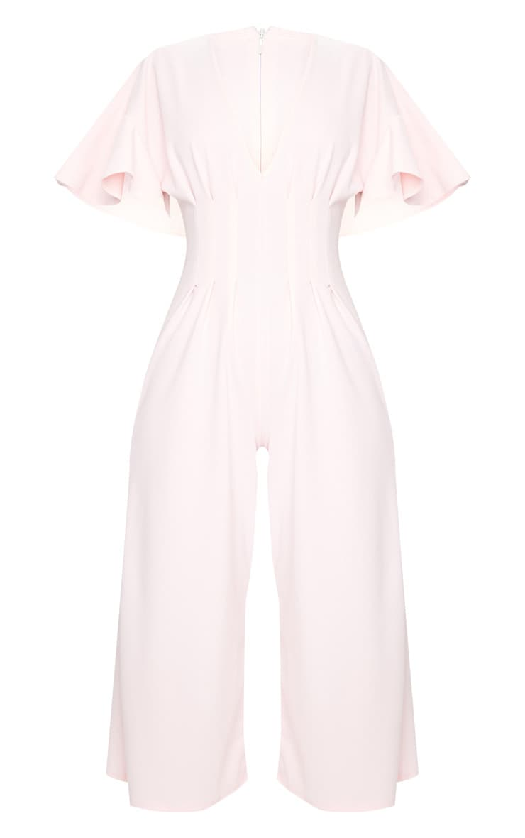 Dusty Pink Pleated Waist Plunge Culotte Jumpsuit 5