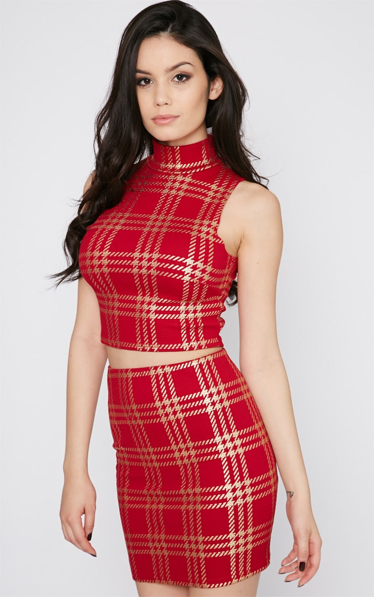 Totsi Red and Gold Checked Crop Top 3
