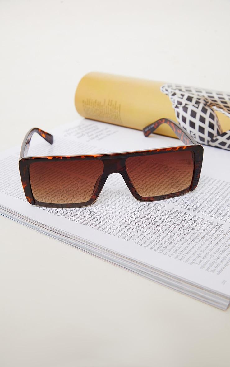 Brown Tort Slim Visor Sunglasses 2