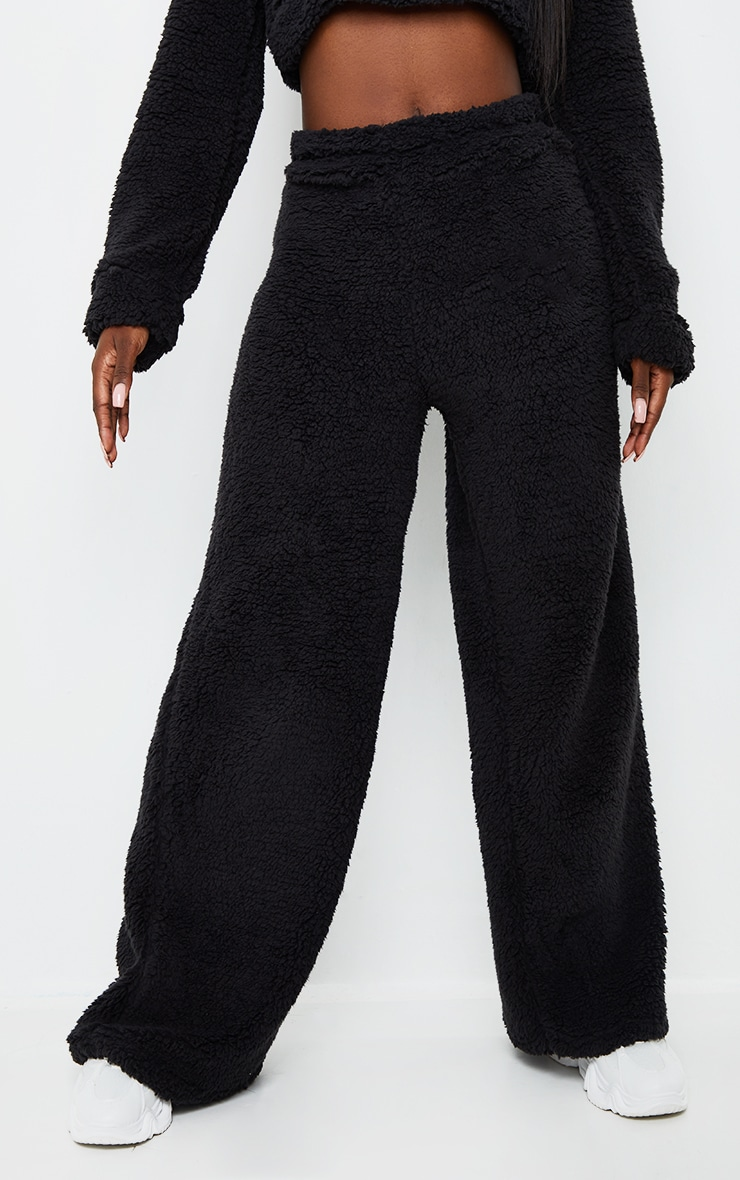 Tall Black Soft Borg Wide Leg Track Pants 2