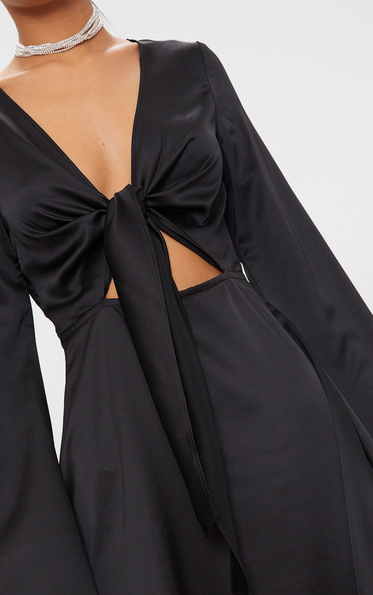 Black Satin Flare Sleeve Knot Detail Plunge Skater Dress 5