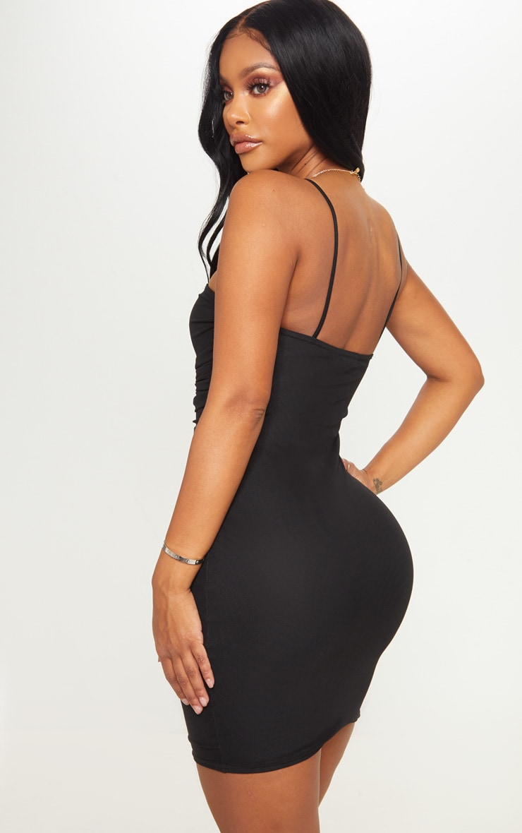 Shape Black Strappy Ruched Mesh Bodycon Dress 2