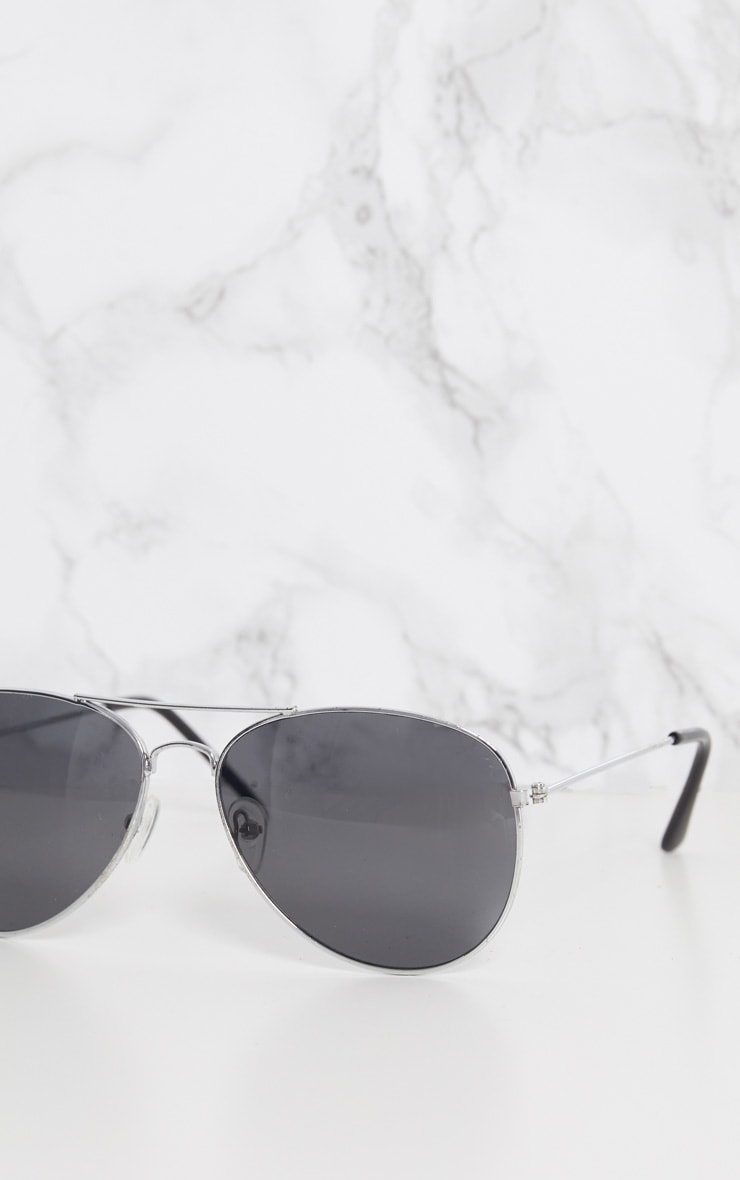 Silver Metal Aviator Sunglasses 5