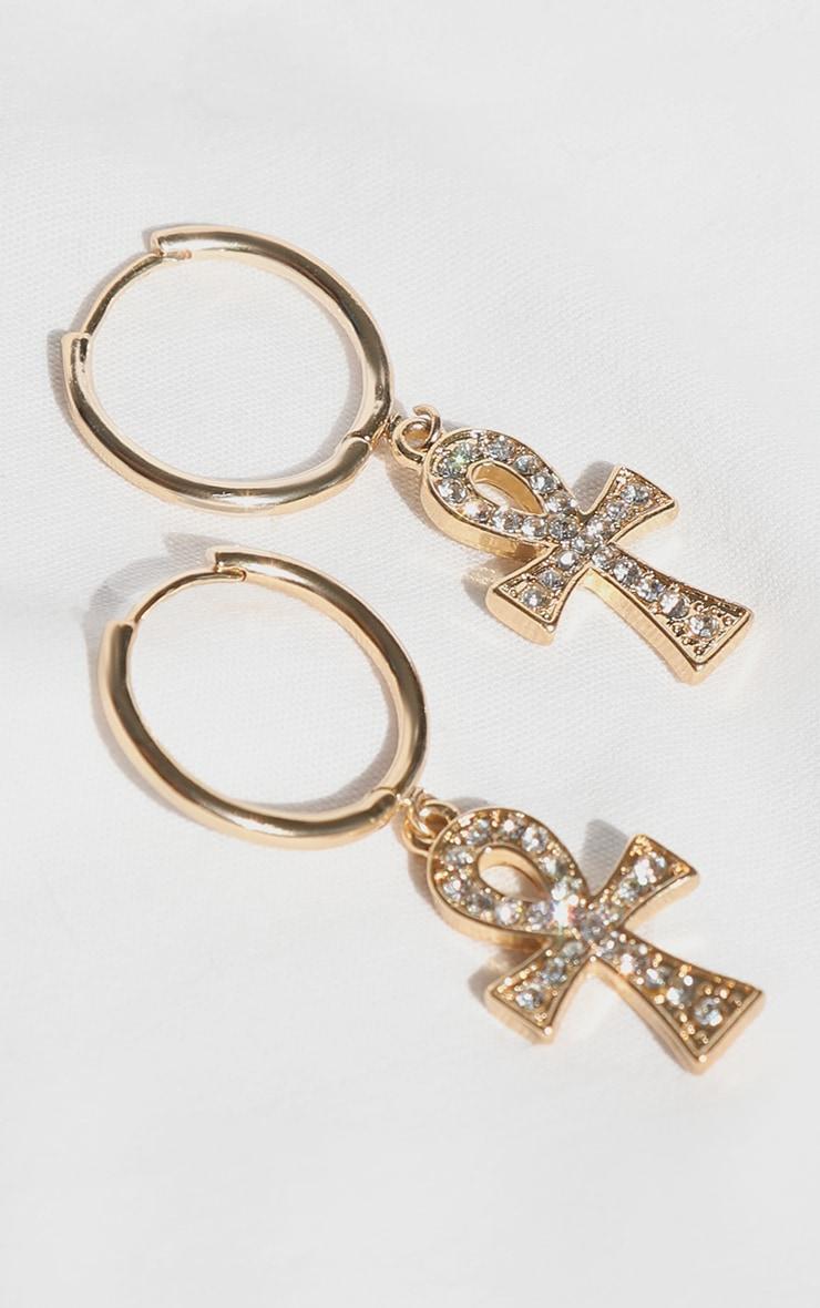 Gold Diamante Ank Hoop Earrings 1