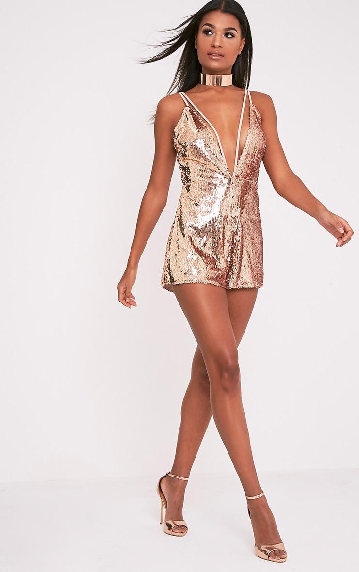Tarlia Gold Sequin Plunge Playsuit 5