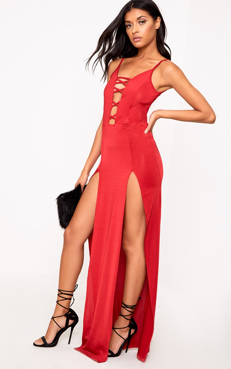Red Slinky Extreme Split Maxi Dress 4