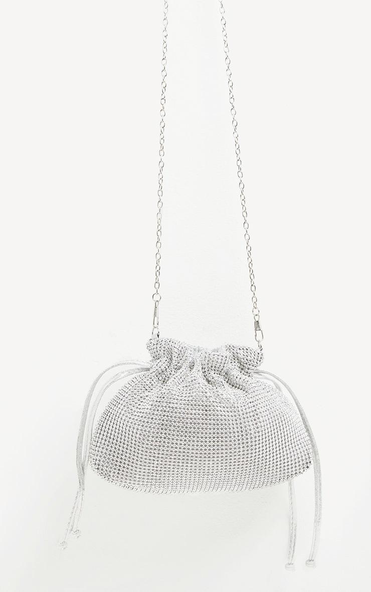 Silver Diamante Drawstring Pouch 3