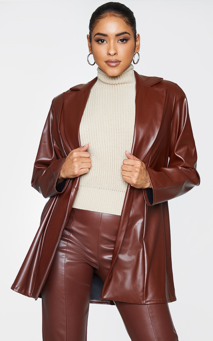 Chocolate Longline Lapel Detail Faux Leather Blazer 1