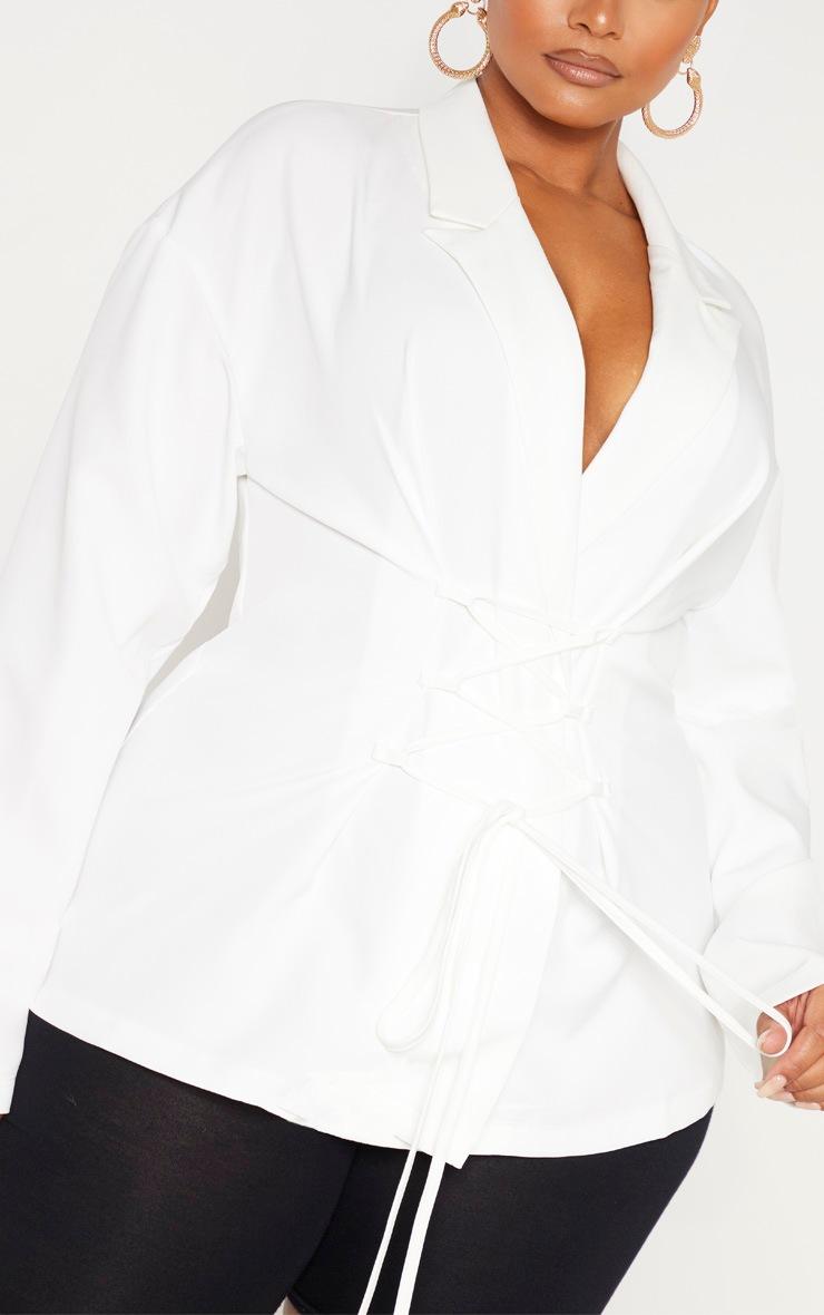 Plus White Lace Up Corset Shirt  5