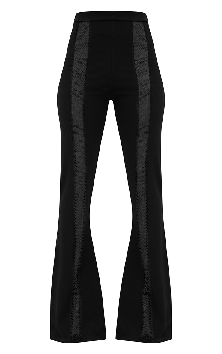 Black Fishnet Insert Flared Trousers 3
