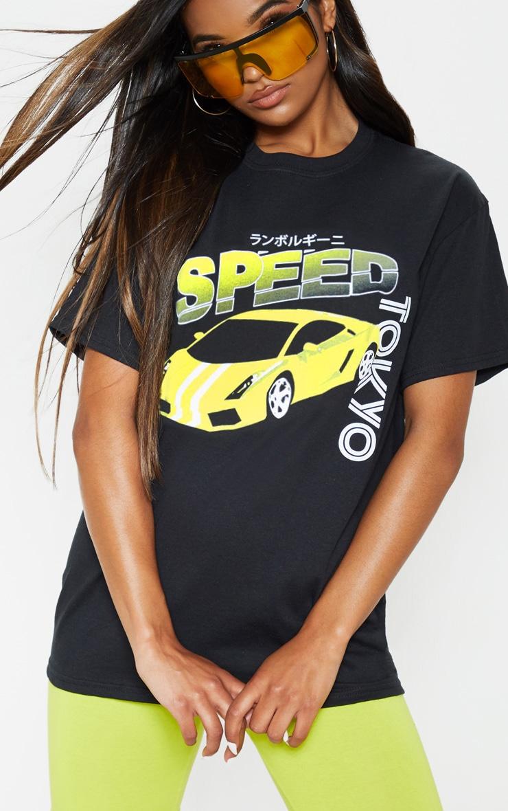 Tee-shirt noir oversize à imprimé Speed Tokyo 5