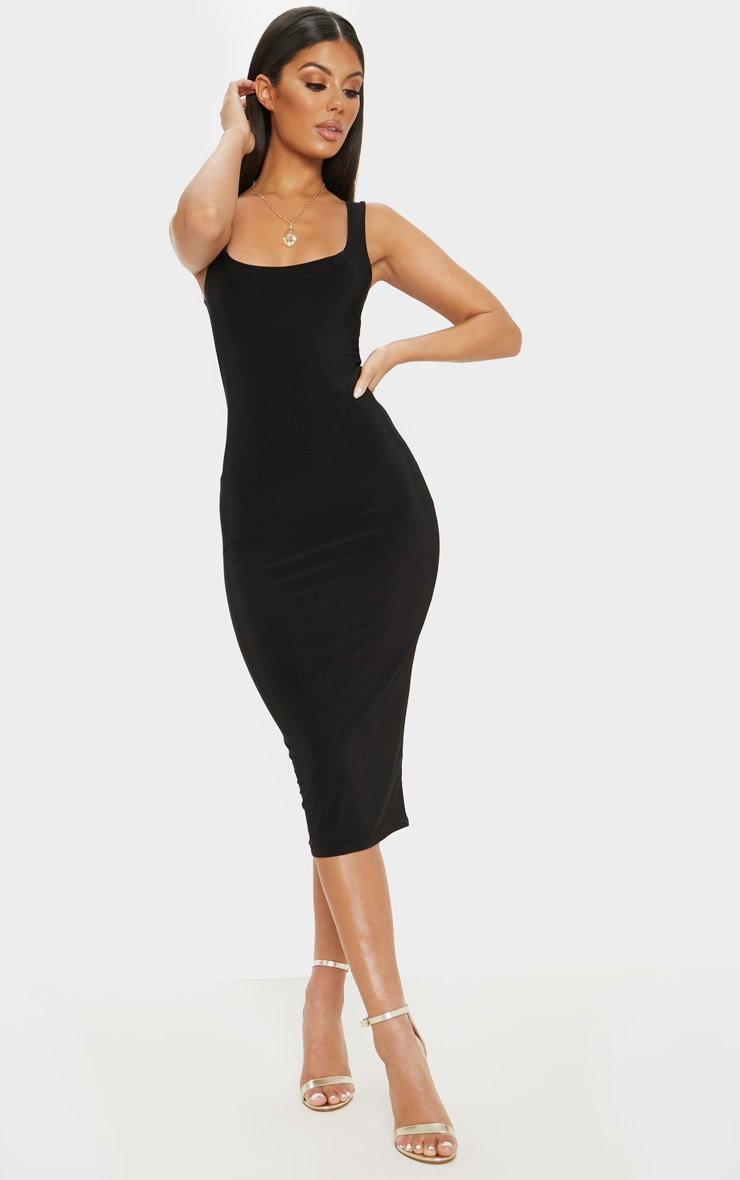 Black Slinky Strappy Midi Dress 1