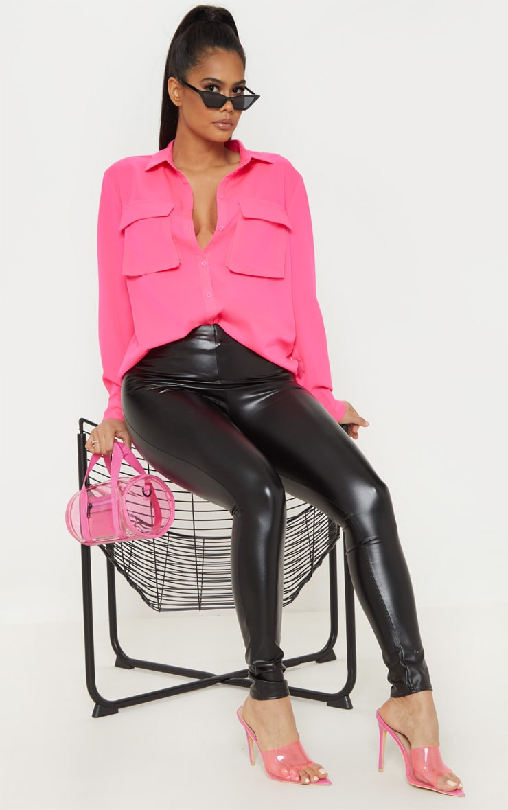 Hot Pink Oversized Chiffon Shirt 4