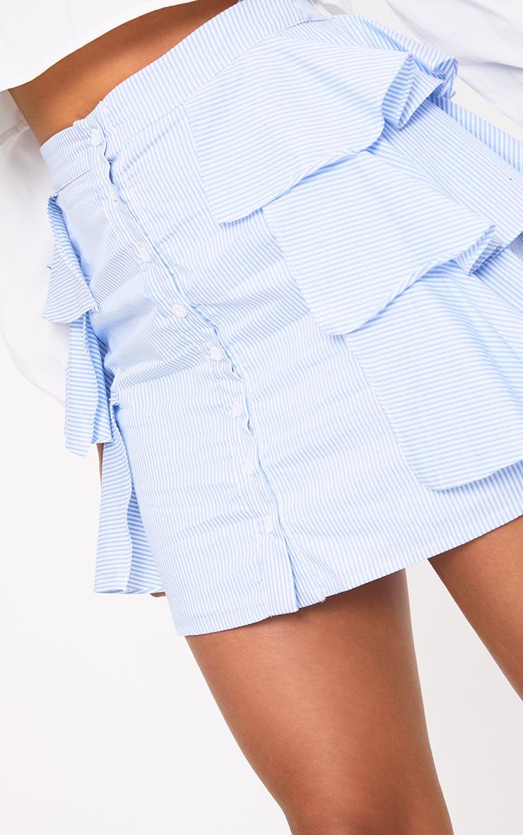 Lunetta Blue Stripe Ruffle Shirt Skirt 6