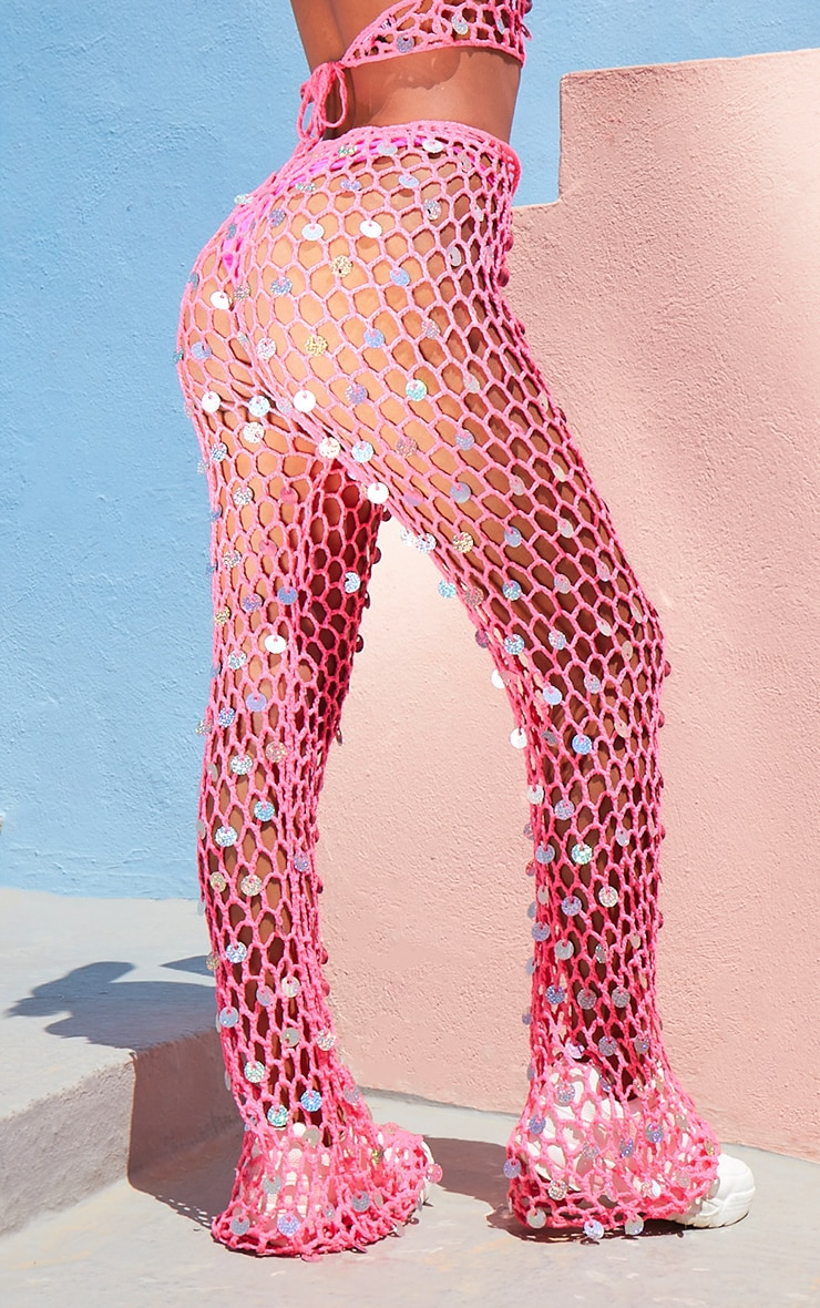 Hot Pink Knitted Holo Sequin Flare & Top Set 5