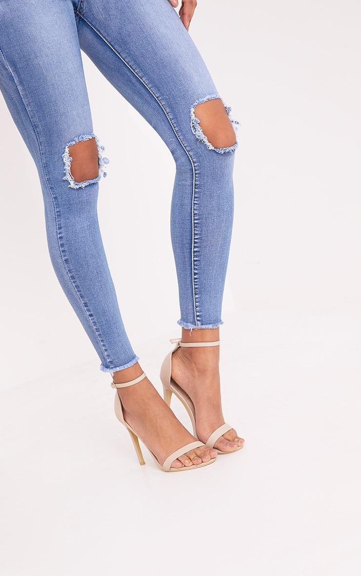 Onna Mid Wash Open Knee Rip Jean 5