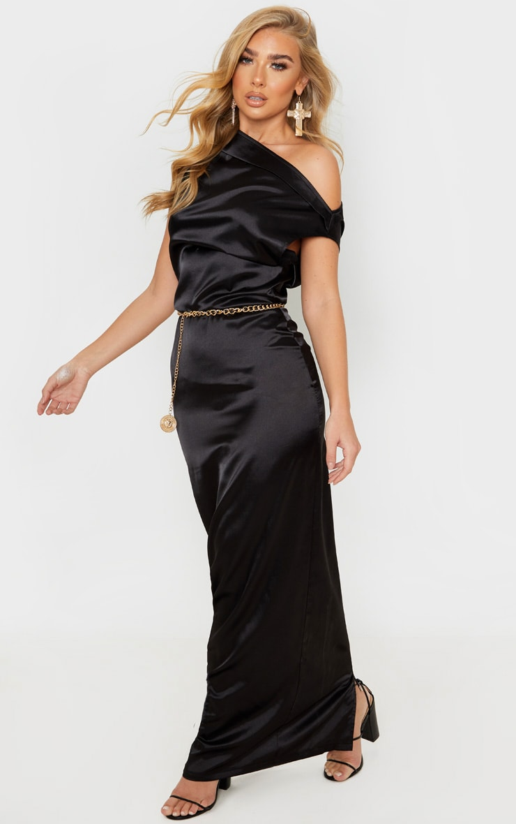 Black Off Shoulder Pleat Detail Satin Maxi Dress 4