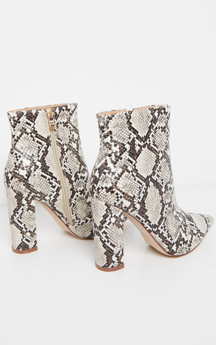 Snake High Block Heel Point Ankle Boot 4