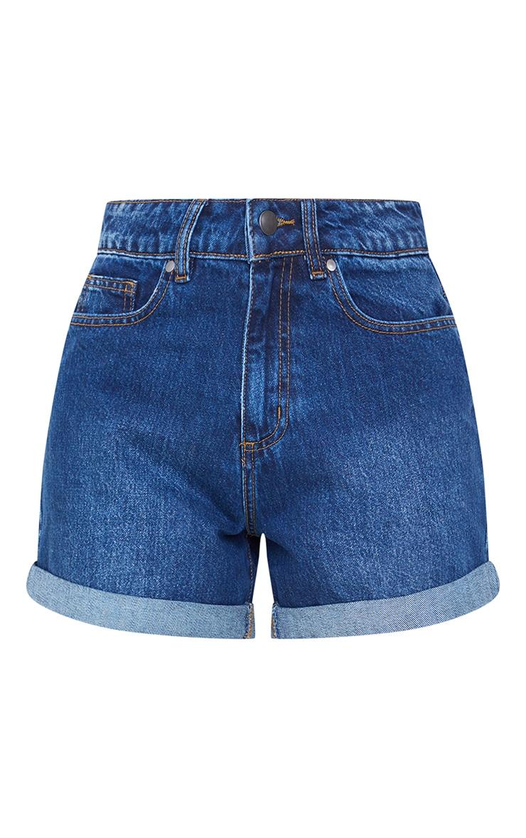Mid Blue Wash Basic Mom Shorts 6