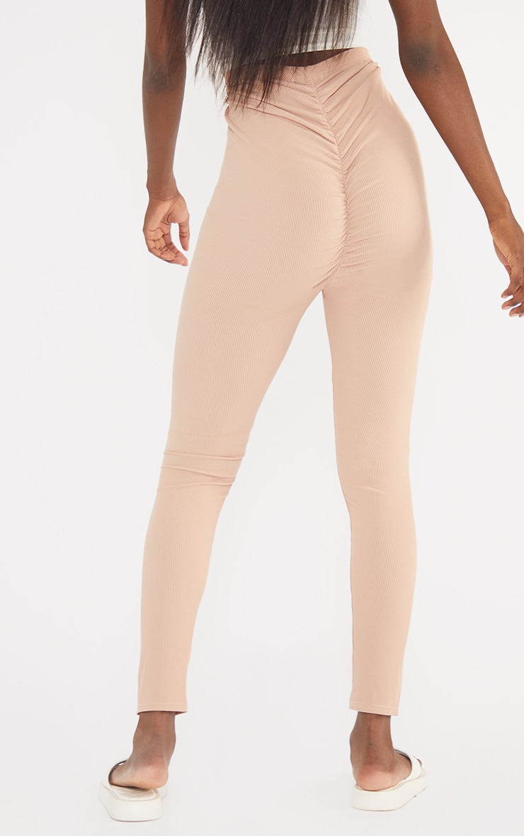 Tall  Pink Ribbed Ruched Bum Leggings 3