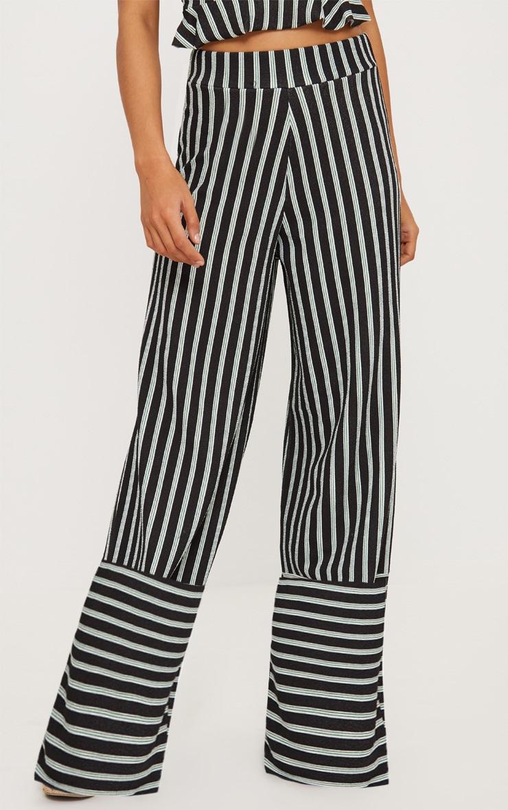 Black High Waist Contrast Hem Wide Leg Trouser 3