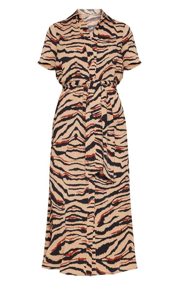 Camel Tiger Print Short Sleeve Midi Shirt Dress 3