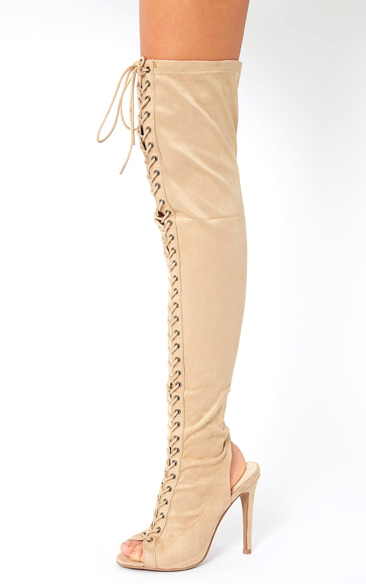 Valentina Nude Suede Lace Up Thigh Boots 3
