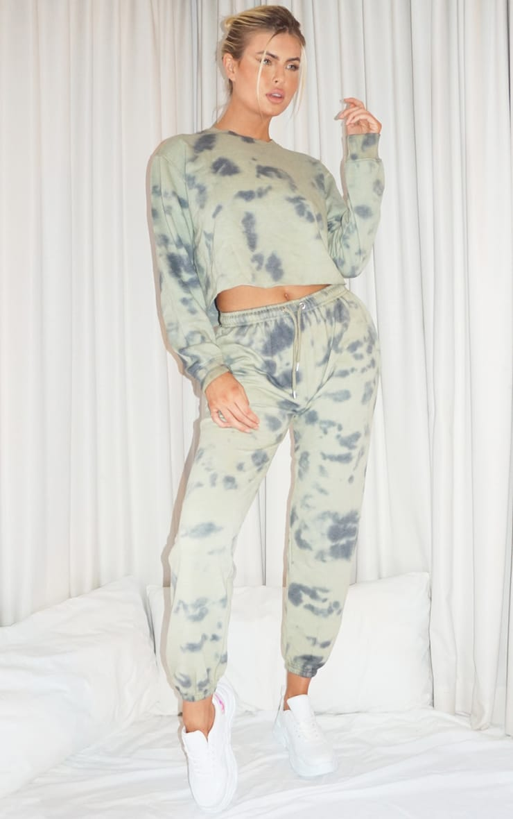 Tall Sage Green Tie Dye Cropped Sweater 3