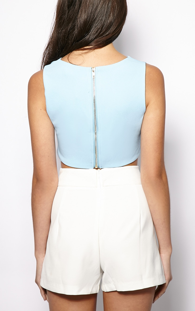 Gloria Blue Rounded Neck Crop Top 2