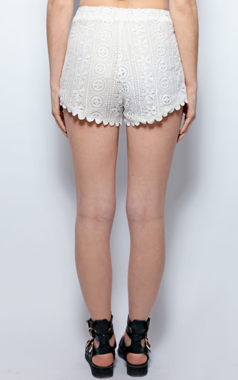 Esme White Crochet Shorts 2