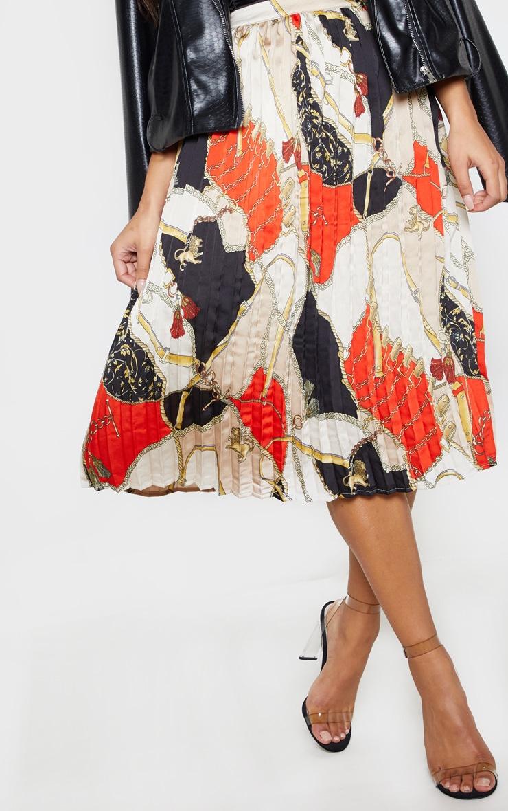 Cream Chain Print Pleated Midi Skirt  5